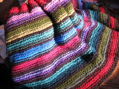 Knitted Garter Stitch Blanket In Sheepsdown : knitting Doll
